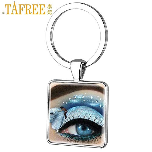 Key Chains - Fashion Square Keychain Beautiful Art Painting Colorful Eye Key Ring Trendy Key Chain Glass Cabochon Women Jewelry FQ632 - by Mct12-1 PCs (Turtle Rhodium)