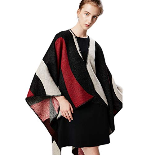 Women Knitted Poncho Cardigan Capes Shawl Vintage Color Blocking Cashmere-Like Sweater for Office Vacation (Black+Red) (Vintage Glamour Sweatshirt)