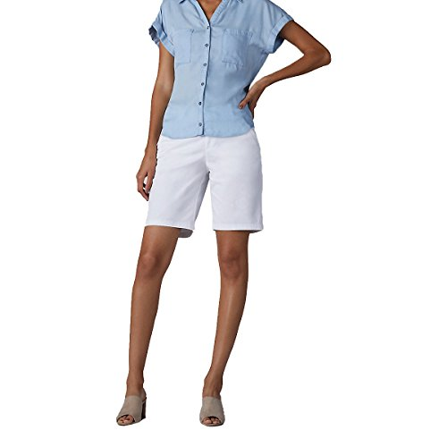 LEE Women's Straight Fit Tailored Chino Bermuda Short, White, 12 Tailored Chino