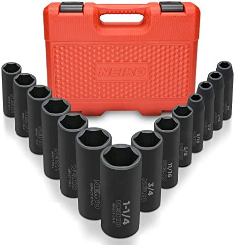 "Neiko 02476A 1/2"" Drive Deep Impact Socket Set, 14 Piece 