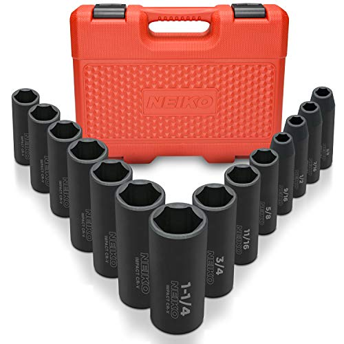 "Neiko 02476A 1/2"" Drive Deep Impact Socket Set, Cr-V Steel, 6-Point 