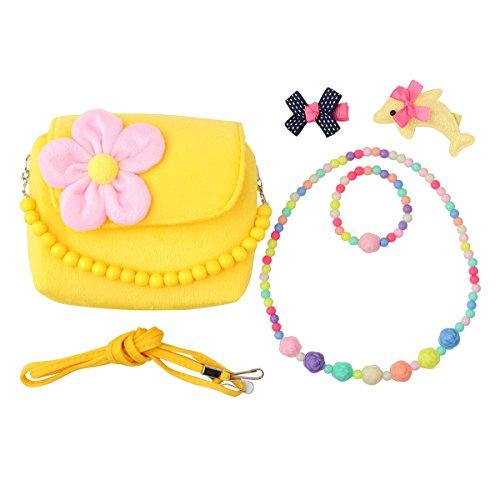 Slowera Little Girl Beauty Set Plush Handbag 2 Hair Clips Necklace and Bracelet (Yellow) by Slowera