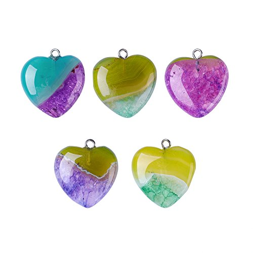 Fashewelry 5 PCS Heart Shape Dyed Natural Agate Pendant Healing Pointed Love Pendants Charms for Necklace Jewelry Making