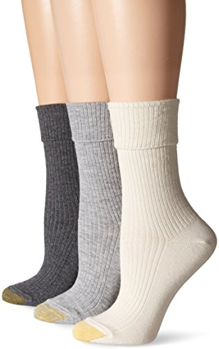 Gold Toe Women's Camden Crew 3 Pack, Ivory/Grey Heather/Charcoal, 6-9