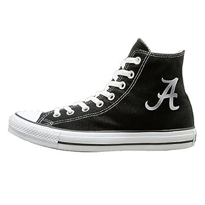 Laotan Men & Women Alabama Crimson Tide Platinum Logo High Top Sneakers Canvas Shoes Fashion Sneakers Shoes Classic Black