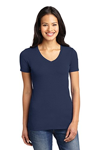 (Port Authority Ladies Concept Stretch V-Neck Tee. LM1005 Dress Blue Navy XXL)
