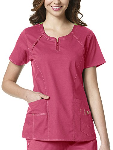 WonderWink Women's Plus Size Wonderflex Heaven Scrub Top, Papaya, (Denim Scrub Top)