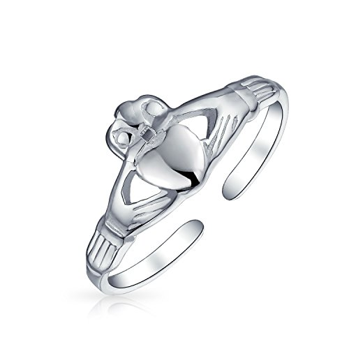 (Bff Celtic Claddagh Heart Midi Toe Ring Band For Teen For Women 925 Silver Sterling Adjustable)