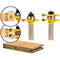 Yonico 15221 Matched Tongue and Groove Router Bit Set 1/2-Inch Shank by Yonico