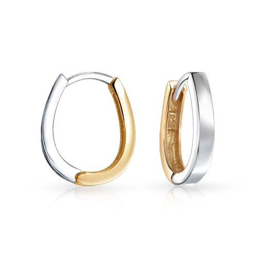 Two Tone Small Oval Huggie Hoop Kpop Earrings for Women For Men Shiny 14K Gold Plates 925 Sterling Silver