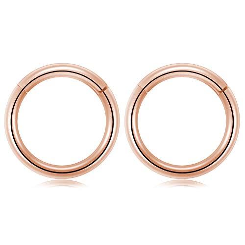 (GAGABODY 18G Captive Bead Ring Clicker Segment Hoop Nose Ring 8mm 5/16Inch Septum Ring Unisex Hoop Earrings Easy Use Body Piercing Rose)
