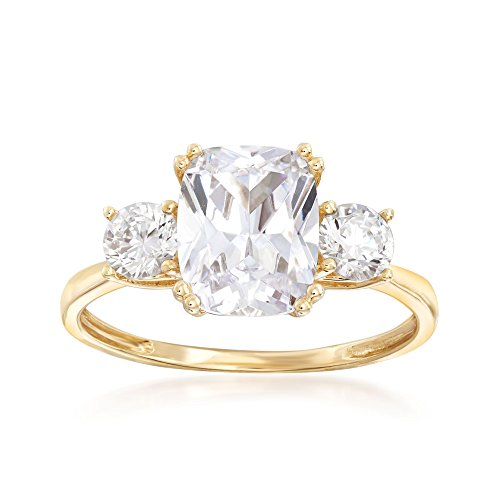 Ross-Simons 3.50 ct. t.w. CZ Royal-Inspired Engagement Ring in 14kt Yellow Gold