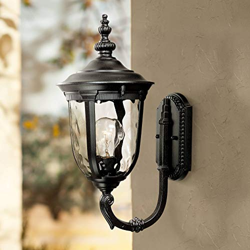 "Bellagio Traditional Outdoor Wall Light Fixture Texturized Black Upbridge 16 1/2"" Clear Hammered Glass for Exterior House - John Timberland"