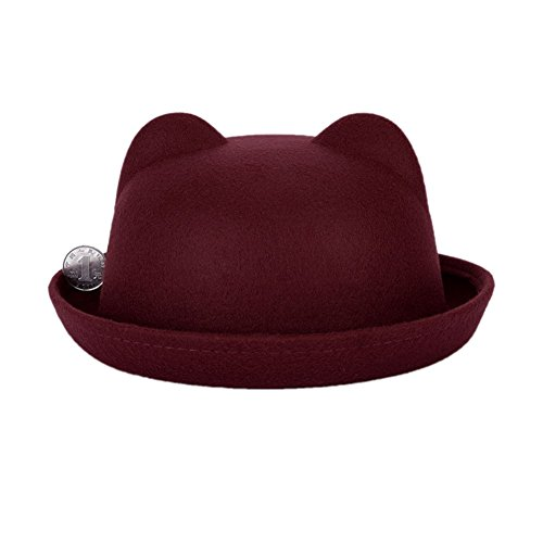 Pierre LaMarreDS Women's Plain Wool Felt Cat Ear Roll-up Hat Fedora Bowler Cap (Felt Fedora Hats)