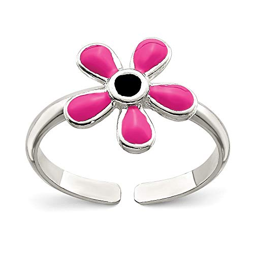 (The Black Bow Pink Enameled Flower Toe Ring in Sterling Silver)