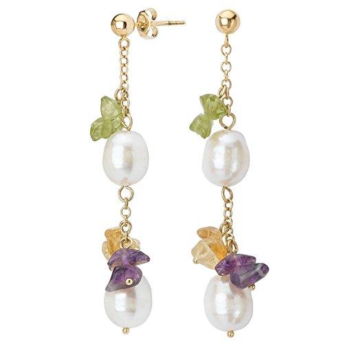 14k Yellow Gold, Freshwater Cultured Pearls, Peridot, Amethyst & Citrine Dangle Earrings