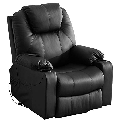 Harper&Bright Designs Power Lift Chair Recliner with PU Leather Living Room (Black)