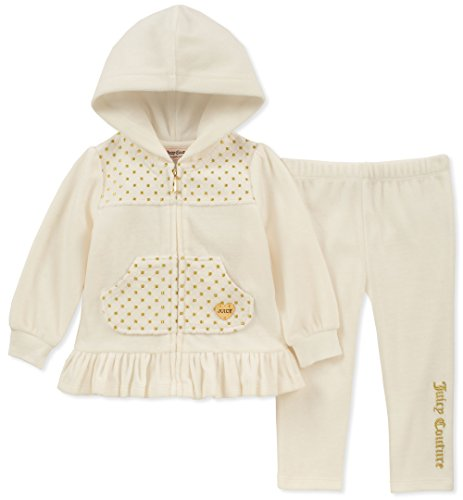 Juicy Couture Baby Girls 2 Pieces Jog Set-Velour, Silent Vanilla/Gold, 12M