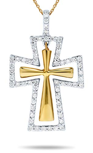 18k White and Yellow Gold Cross 1/4 Carat Diamond Halo Pendant Necklace