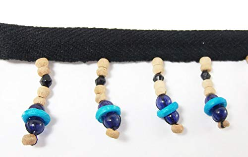 5 Yards Hanging Beaded Fringes- Dark Blue Glass with Turquoise Bone Ring & Natural Wooden Beads Cotton Twill Tape Ribbon for Sewing Quilting Renaissance Dance Hawaiian Bridal Costumes - Ring Turquoise Glass