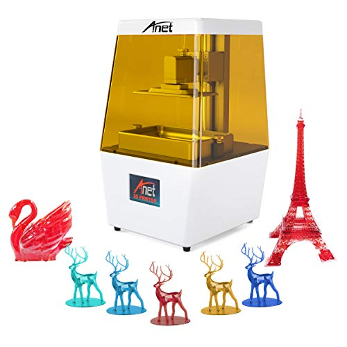 Anet N4 3D Printer, UV LCD Light Curing 3D Printer 40um Ultra High Precision Fast Slicing Printing Honeycomb Structure Saving Resin Smart Touch Color Screen Fully Assembled