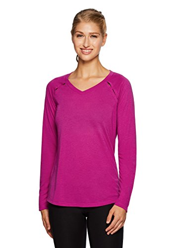 RBX Active Women's Ventilated Long Sleeve Yoga V-Neck T-Shirt Pink M Freedom Womens V-neck T-shirt
