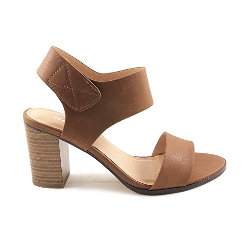SODA Topshoeave Wait Womens Open Toe Chunky Heel Ankle Strap Shoes Block High Heel Dress Sandals Congnac 6 B(M) US