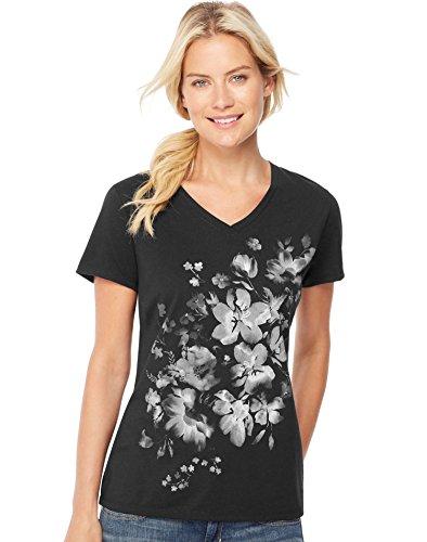 Hanes Women's Bleach Floral Cascade Short-Sleeve V-Neck Graphic (Glitter Floral Tee)