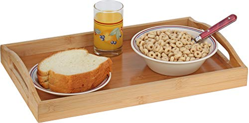 Serving tray bamboo - wooden tray with handles - Great for dinner trays, tea tray, bar tray, breakfast Tray, or any food tray - good for parties or bed tray by HOME IT- (Image #4)