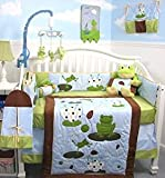 SoHo Tall Tales Dancing Frog Baby Crib Nursery Bedding Set 13 pcs included Diaper Bag with Changing Pad & Bottle Case