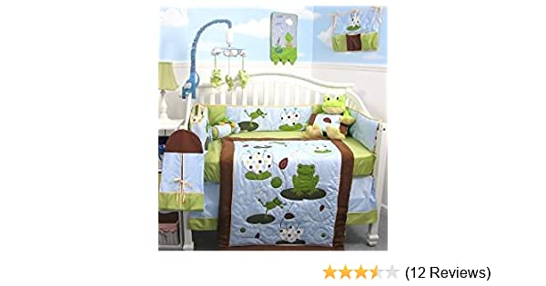 SoHo Tall Tales Dancing Frog Baby Crib Nursery Bedding Set 13 pcs included  Diaper Bag with Changing