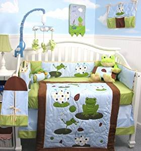 SoHo Tall Tales Dancing Frog Baby Crib Nursery Bedding Set 13 pcs included Diaper Bag with Changing Pad & Bottle (Frog Crib Bedding Sets)