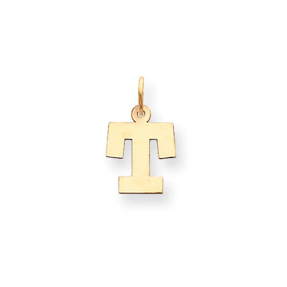 Amanda Collection Small Block Initial T Pendant 14k Yellow Gold