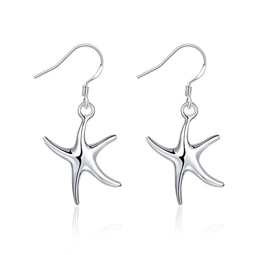 FOY-MALL Silver Plated Starfish Drop Earrings (Plated Silver Starfish Earrings)