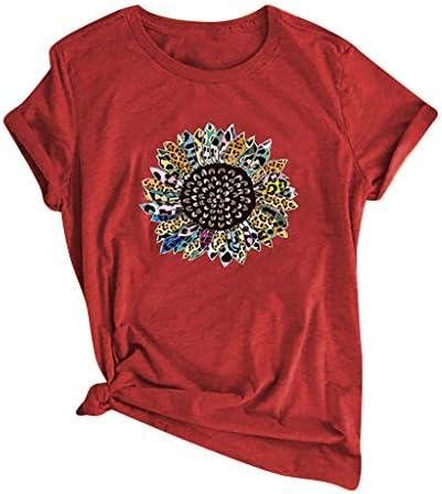 Memela Women Vintage Graphic Tee Women`s Summer Crew Neck Short Sleeve Pullover T-Shirt Funny Sunflower Print Shirts Tops
