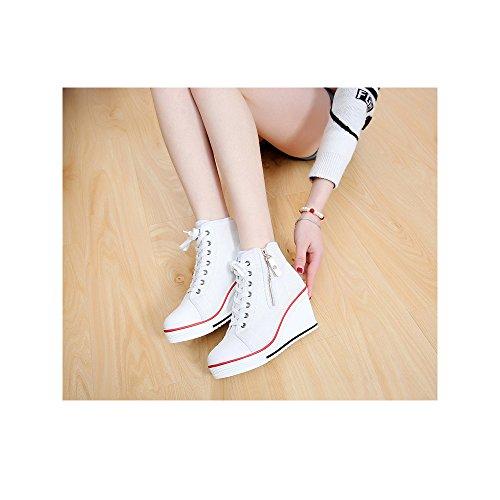 Damen Sneaker Pumps Keilabsatz Canvas High Heels Plattform Schick Bequem Turnschuhe Freizeitschuhe Peep Toe #6 Weiß