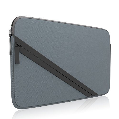 amCase Soft Sleeve Carrying Case compatible with Nintendo 2DS XL complete with accessory pocket for games and charging cable (Grey/Black)