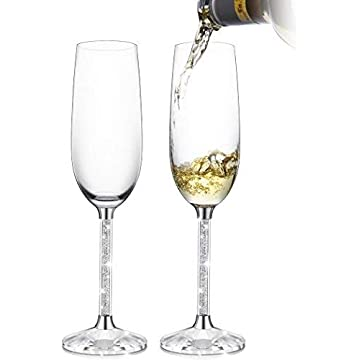 9ea7caef70ef IFOLAINA Champagne Glasses Set of 2 Christmas Flutes Lead Free 8 Ounce with  Clear Long Crystal
