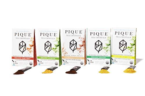 Pique Organic Variety Tea Crystals Sampler, Antioxidants, Energy, Gut Health, 70 Single Serve Sticks (Pack of 5)