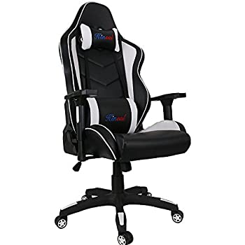 Kinsal Gaming Chair, Executive Computer Chair High-back Ergonomic Desk Chair Racing Chair, Leather Office Chair Including Headrest and Lumbar Support (White/Black)
