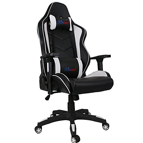 [Upgrade to Large] Kinsal Gaming Chair High-back Computer Chair, Ergonomic Racing Chair, Leather Premium Lumbar Support Swivel Executive Office Chair Including Headrest and Lumbar Pillow (Black/White)