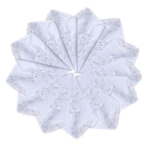 Perfect Wedding Pack White Cotton Embroidery Handkerchiefs Bulk