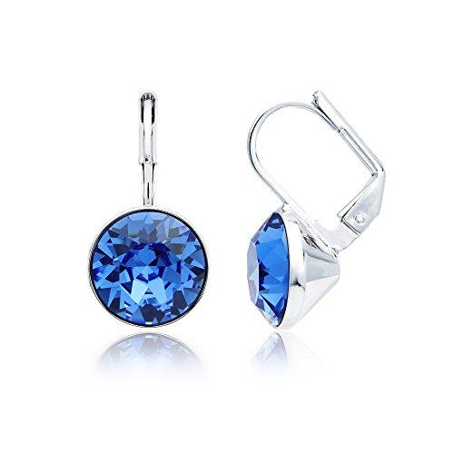 MYJS Bella Rhodium Plated Mini Drop Earrings with Sapphire Blue Swarovski Crystals