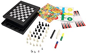 [8 in 1 ] [2~4 player] ABS Plastic Magnetic Travel Game Chess/Checkers/Backgammon/Chinese Checkers/Nine Men's Morris Game/Snakes&Ladders Game/Ludo Game/Goose Game