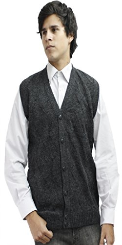 Mens Soft Alpaca Wool Knitted V Neck Sweater Button Down Golf Vest Diamond Design (XL, Charcoal Gray)