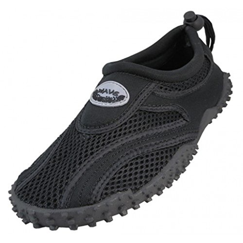 The Wave Men's Waterproof Water Shoes (10, Black Black) by The Wave