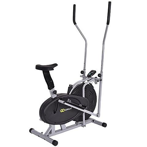 Goplus 2 IN 1 Elliptical Fan Bike Cross Trainer Machine Exercise Workout Home Gym (Classic) - Home Elliptical Trainer