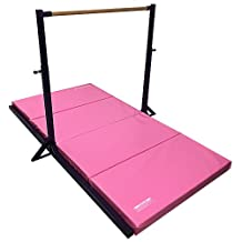 "The Beam Store Purple Gymnastics Mini High Bar with 4'x8'x 2"" Pink Folding Mat"