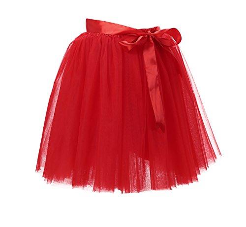 Femme Jupe Courte Ballet Petticoat Tutu 8 Couches jupon Pettiskirt Pliss Jupon Mi-longue Jupe En Tulle Rouge