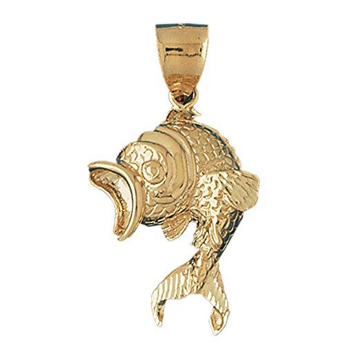 Jewels Obsession Goldfish Pendant | 14K Yellow Gold Goldfish Pendant - 50 mm ()
